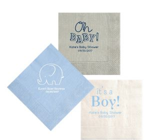 Personalized Baby Shower Moire Lunch Napkins