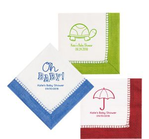 Personalized Baby Shower Bordered Lunch Napkins