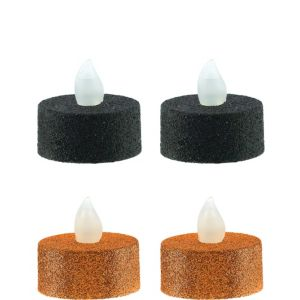 Black & Orange Tealight Flameless LED Candles 4ct