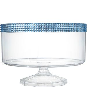 Large Caribbean Blue Rhinestone Clear Plastic Trifle Container