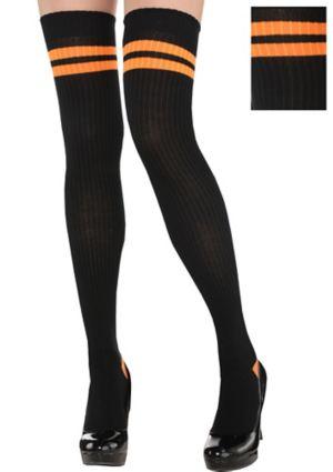 Adult Black & Orange Knee Socks