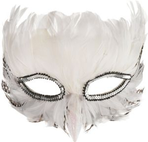Adult White Feather Masquerade Mask