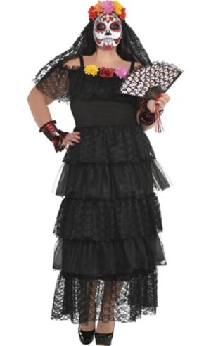 Adult Day of the Dead Dress Plus Size