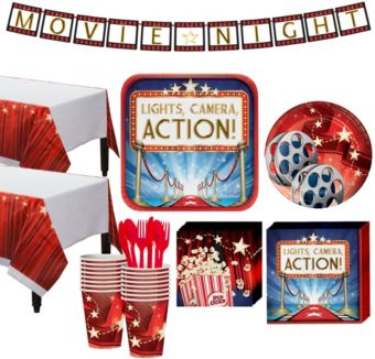 Hollywood Movie Night Tableware Kit for 32 Guests