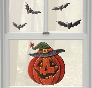 Jack-o'-Lantern & Bats Halloween Cling Decals 5ct