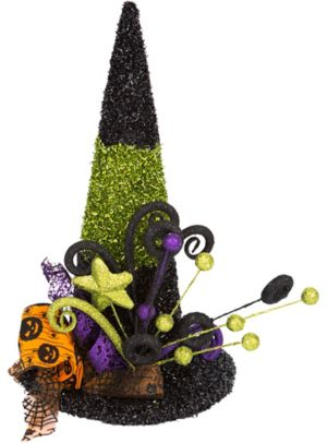 Black & Green Tinsel Witch Hat Decoration