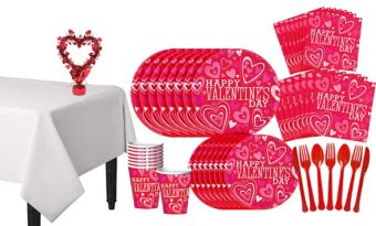 Bright Valentine's Day Tableware Kit for 18 Guests