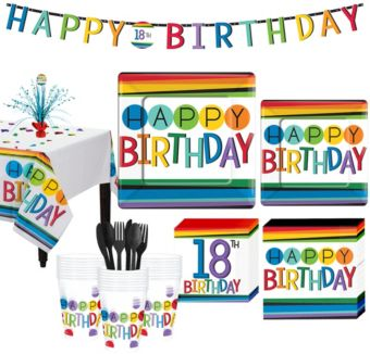 Rainbow 18th Birthday Party Kit for 32 Guests