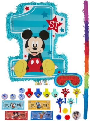 1st Birthday Mickey Mouse Pinata Kit with Favors