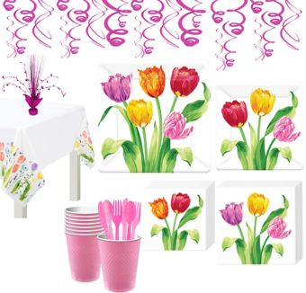 Spring Tulips Tableware Kit for 8 Guests