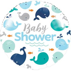 Blue Baby Whale Baby Shower Balloon
