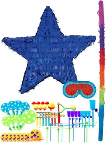 Foil Blue Star Pinata Kit with Favors
