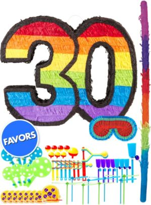 Rainbow Number 30 Pinata Kit with Favors