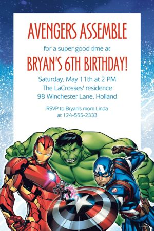 Custom Epic Avengers Invitation