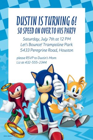 Custom Sonic the Hedgehog Invitation