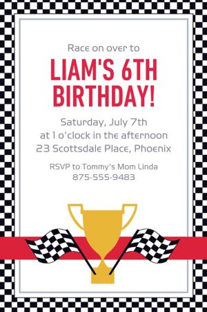Custom Race Car Invitation