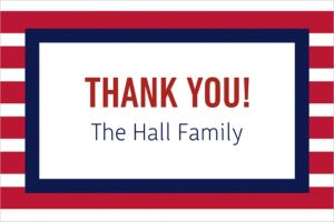 Custom Red and Blue Stripes Thank You Note