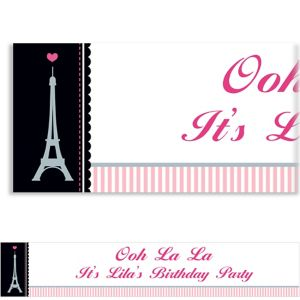 Custom Pink Paris Party Banner