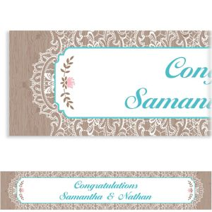 Custom Rustic Lace and Wood Banner
