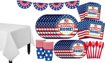 Patriotic Welcome Home Super Party Kit for 18 Guests