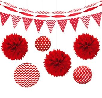 Red Polka Dot & Chevron Decorating Kit