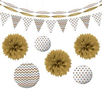 Gold Polka Dot & Chevron Decorating Kit