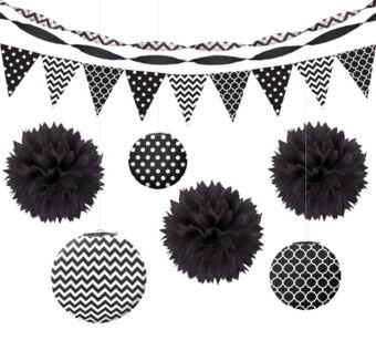Black Polka Dot & Chevron Decorating Kit