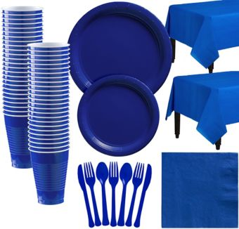 Royal Blue Paper Tableware Kit for 50 Guests