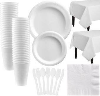 White Plastic Tableware Kit for 50 Guests