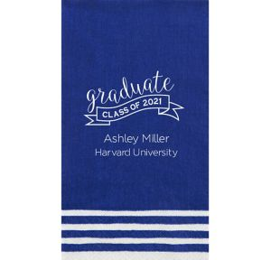 Personalized Graduation Striped Border Guest Towels