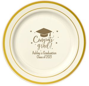 Personalized Graduation Trimmed Premium Plastic Dinner Plates