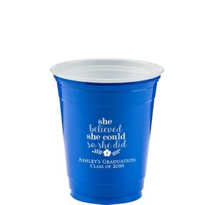 Personalized Graduation Solid Color Plastic Party Cups 12oz