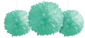 Mint Green Fluffy Decorations 3ct