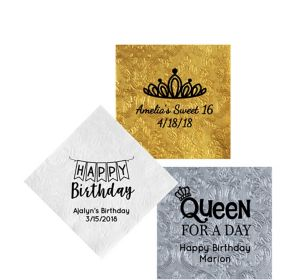Personalized Birthday Embossed Damask Beverage Napkins