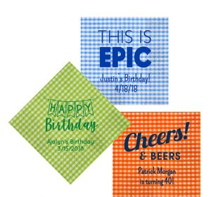Personalized Birthday Gingham Lunch Napkins