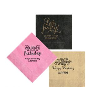 Personalized Birthday Moire Beverage Napkins
