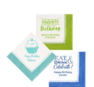 Personalized Birthday Bordered Beverage Napkins