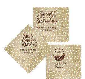 Personalized Birthday Small Dots Lunch Napkins