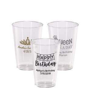 Personalized Birthday Hard Plastic Cups 14oz