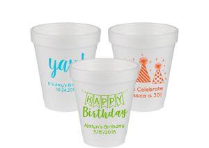 Personalized Birthday Foam Cups 6oz
