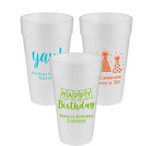 Personalized Birthday Foam Cups 20oz