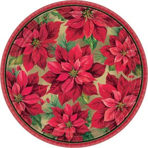 Holiday Poinsettia Dinner Plates 8ct