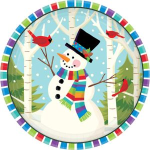 Colorful Smiling Snowman Lunch Plates 60ct