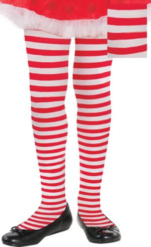 Adult Red & White Striped Tights Plus Size