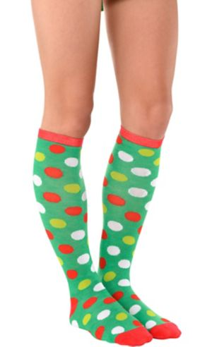 Adult Christmas Polka Dot Knee Socks