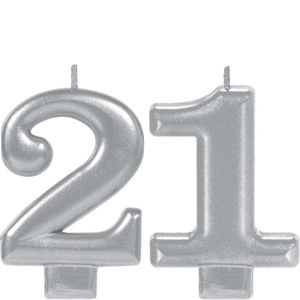 Silver 21 Birthday Candles 2ct