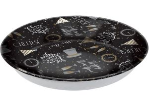 Black, Gold & Silver New Year's Plastic Serving Bowl