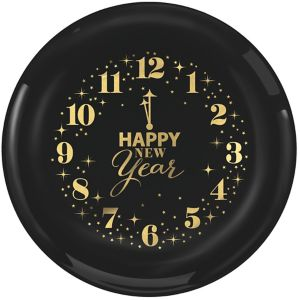 Metallic Countdown Clock New Year's Plastic Lunch Plates 12ct
