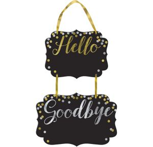 Glitter Hello Goodbye Chalkboard Sign