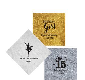 Personalized Girls Birthday Embossed Damask Beverage Napkins